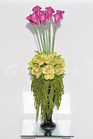 Small Picture Tall Pink Calla Lilies Preserved Amaranthus Floral Arrangement