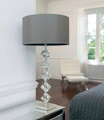 accessories contemporary transpa grey crystal table lamp white wall paint color chocolate wooden flooring foam lamps