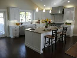 White Kitchen Dark Wood Floors Awesome Two Tone Color Of White Kitchen Cabinets With Dark Floors