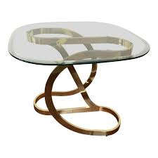 milo baughman brass ribbon side table