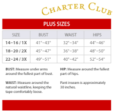 Macy S Size Chart Shoes Charter Club Plus Size Chart Via Macys In 2019 Size Chart