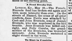 French-Everole Family Feud began over prior Conflicts involve Jesse Fields  - Newspapers.com