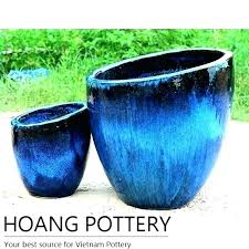large ic garden pots blue glazed flower throughout outdoor planters ideas ceramic plant