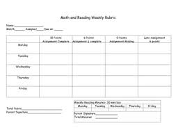 Homework Chart For Parents Math And Reading Weekly Homework Chart