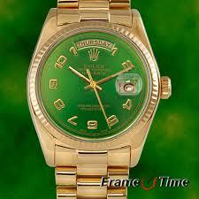 rolex mens president 18k yellow gold green arabic day date rolex mens president 18k yellow gold green arabic day date quickset watch 18038