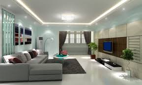 living room recessed lighting design with white fabric sofa and round glass table over grya