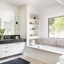 Built In Shelves Over Drop In Bathtub