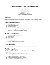 Financial Skills Resumes Yun56co Cfo Resume Template Best Cover Letter