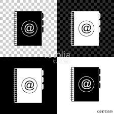 Address Telephone Book Address Book Icon Isolated On Black White And Transparent