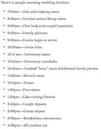 Sample Timelines Best Sample Timeline For An Early Morning Wedding Brunch Although We