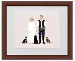 1st wedding anniversary gift ideas paper gift ideas custom star wars family portrait