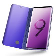 Samsung Galaxy S9 Plus <b>Flip Stand Mirror</b> Luxury <b>Smart</b> Clear View ...