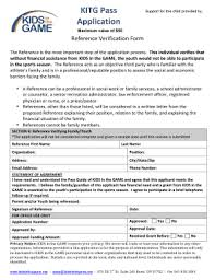 Reference Verification Form Fillable Online Kidsinthegame Reference Verification Form Kids In