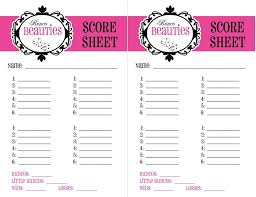 Bunco Score Sheets Template