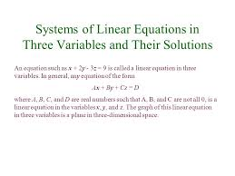 systems of linear equations in three variables and their solutions