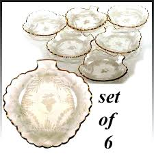 set of 6 intaglio engraved gilt french glass dessert plates set of 6 intaglio engraved gilt crystal gingerbread house pattern dessert plates