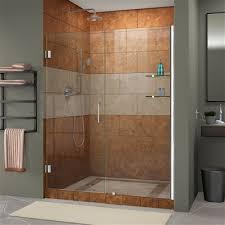 dreamline unidoor 59 60 in width frameless hinged shower door 3 8 glass chrome finish