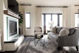 charcoal gray sofa with gray overdyed rug