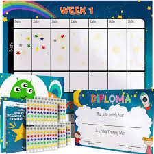 Toddler Potty Chart Ideas Potty Training Chart For Toddlers Space Theme Sticker Chart Celebratory Diploma Crown And Book 4 Week Potty Chart For Girls And Boys Potty