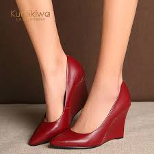 ikiwa fashion red bottom heels women wedge shoes pointed toe genuine leather pumps for woman classic office shoes