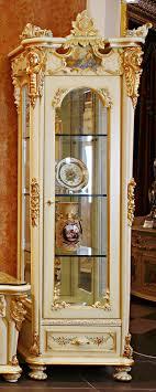 Franse Rococo Stijl Bladgoud Enkele Deur Vitrinekast Met Tv Kast