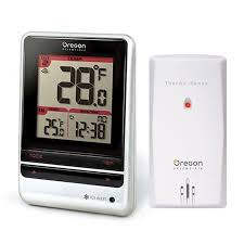 indoor thermometer. oregon scientific rmr202a indoor and outdoor thermometer with atomic time - weather 200