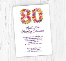 Party Invites Online Floral 80th Birthday Party Invitations