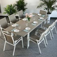 white garden furniture. Brilliant Furniture Modern_Large_8_Seater_Metal_Weatherproof_White_Champagne_Glass_Top_Extending_Garden_Furniture_Dining_Table_Set_5 With White Garden Furniture B