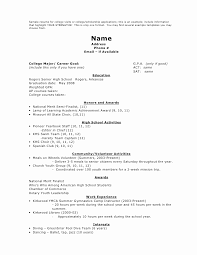 College Admissions Resume Template Lovely Personal High School