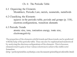 Ch. 6: The Periodic Table 6.1 Organizing the Elements Mendeleev ...
