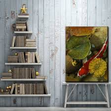chinese style red dot carp lotus leaf water scenery oil painting canvas printings printed on canvas wall art decoration pictures on wall art red dot with online shop chinese style red dot carp lotus leaf water scenery oil
