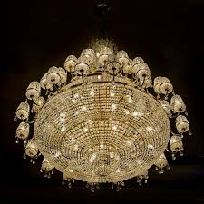 beautiful crystal chandelier highlighted against a black background
