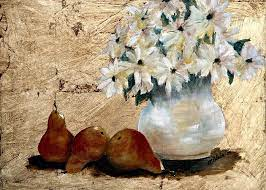 Pears on Gold Painting by Merle Blair