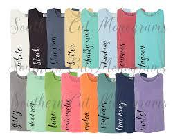 Digital File Shirt Color Chart Comfort Colors 9330 Pocket