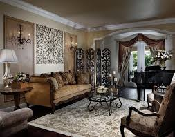 ornate living room with a area and beige walls white table lamp brown sofas brown