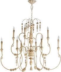 nine light chandelier persian white