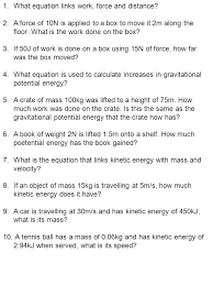 what equation links work force and distance