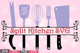 kitchen utensils split silhouette. Modren Split Split Kitchen SVG File Cutting Files Cricut U0026 Cameo Utensils  Silhouette Cooking Food Stickers Clipart Tools Clip Art 571S Inside N