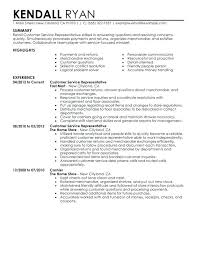 Sample Resumes For Retail Customer Service Representative Resume