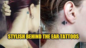Stylish Behind The Ear Tattoo Designs