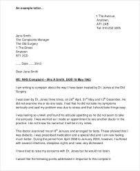 complaint letter sample medical complaint letter samples