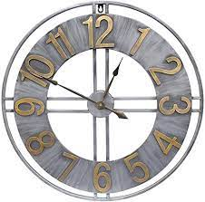 Infinity instruments 20062 decorative traditional graham large oversize 24 inch diameter quartz battery powered wall clock, with silent movement. Amazon Com Yidie Large Wall Clock 24 Inch Decorative Pure Metal Retro Decor For Home Farmhouse Living Room A Black Hands Including Kitchen Dining