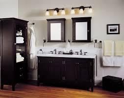 Furniture Gorgeous Menards Bathroom Cabinets Vanities In Espresso Black  Paint Color On Varnish Laminate Wood