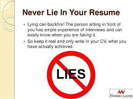 Lying On A Resume