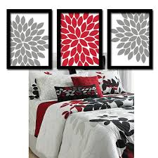 red gray wall art bedroom pictures canvas or prints red