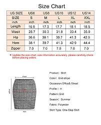 Haoduoyi Size Chart Asmax Haoduoyi Womens Plaid Pencil High Waist Mini Party Skirt Grey