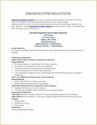 Resume Format For Electrical Engineer Elegant Fresher Resume Sample