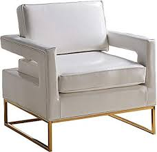 square sleeper chair.  Chair Meridian Furniture 512White Amelia Leather Upholstered Armchair Square Arms  And With Gold Stainless Steel Base On Sleeper Chair K