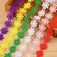 20 Kinds 2 Yards 2.5cm Water <b>Soluble Lace</b> Solid Color <b>Tassel</b> Sun ...