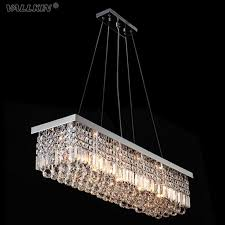 vallkin modern rectangular crystal chandeliers pendant light dining room length 100cm led ceiling lamp with 6 lights ac100 to 240v wine barrel chandelier